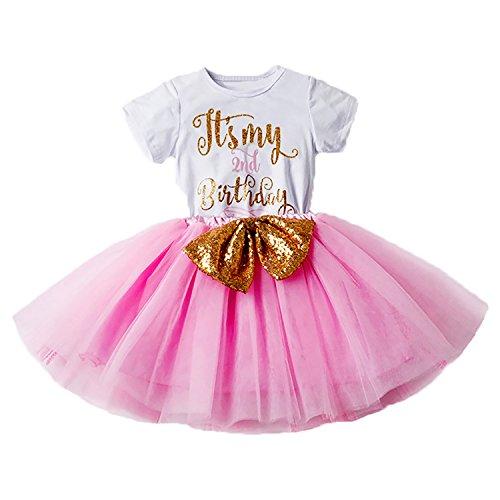 Mein 1./2. Geburtstags Kleid Sequin Tütü Prinzessin Glitzernde Bowknot Partykleid Neugeborene Säuglings Kleinkind Fotoshooting Outfits Kostüm Rosa (Tanzen Kostüme Muster)
