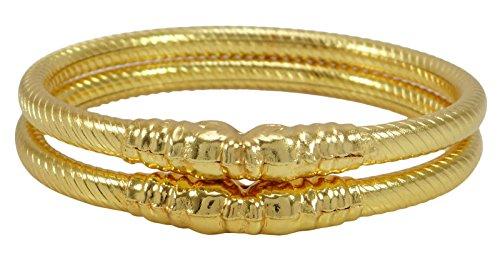 Matra Goldplated Designer 2 Stück Kada Armreif Set Traditionelle Armband Ethnische Schmuck 2 * 6
