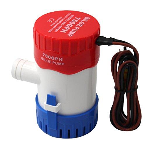 IPOTCH 1 Stück Boat Marine 12v 750 GPH 2.5a Mehrfarbig Bilgenpumpe Wassergekühlte Motoren für Lange Lebensdauer -