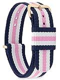 MOMENTO Damen Herren NATO Nylon Uhren-Armband Ersatz-Armband Uhren-Band mit Edelstahl-Schliesse in Rosé-Gold und Blau Weiss Rosa Gestreift 18mm