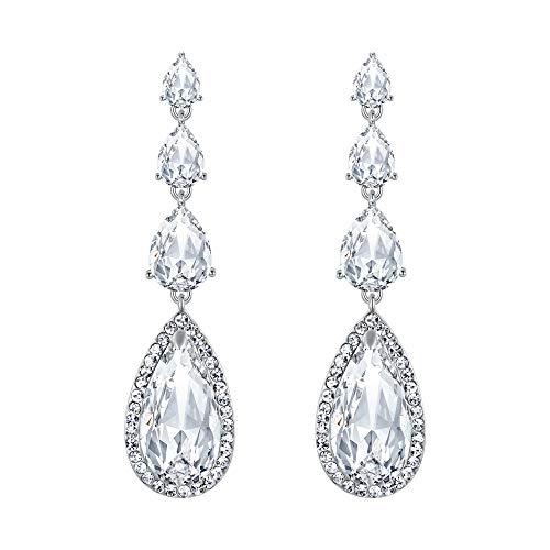 Elegant Hochzeit Braut Tropfen Lange Chandelier Dangle Pierced Ohrringe Silber-Ton Klar ()