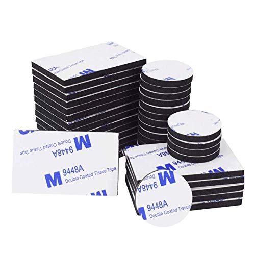 Doppelseitige Schaumstoff-Pads, 50 Stück, doppelseitig, selbstklebend, starkes Montageklebeband, schwarz, rund und rechteckig -