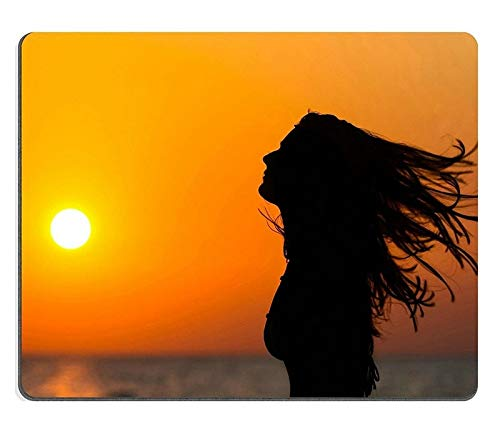 17P05352 Hochwertige Kreativität Mousepad Gaming Mouse Pad Silhouette Einer Frau, die bei Sonnenuntergang Ihr Haar winkt