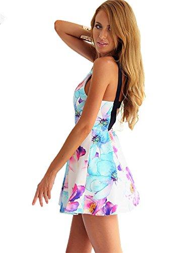 Miss Floral Damen Sommer-Minikleid, rückenfrei, mit Blumenmuster, Größe 32 - 40 Blumenmuster