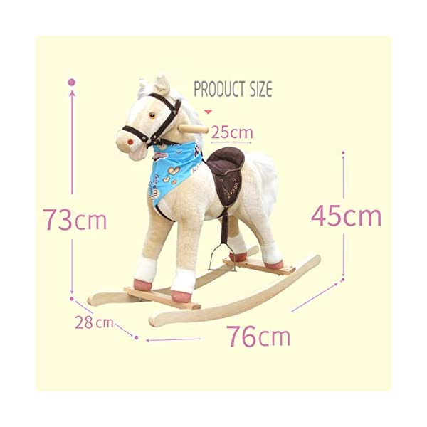 Rocking Horse Kid Wooden, With Sound Plush, Baby Rocker, For Baby 3 Months The Above,Brown  ✔Safe Material:Plush Fabric Is Soft, Stain-Resistant And Non-Toxic. Plush Fabric Sewing Are Neatly Done, Stains Can Be Removed By Wet Rag With Baking Soda Powder. The PP Cotton Used Is Breathable In Summer. ✔Safety Certified:All Paints Materials Used For This Rocking Horse Are Lead-Free, We Promise To Offer Safe Product And We Strongly Advocate Toys Made Of Natural Materials Like Wood And Cotton. ✔Product Structure:Solid Wood Are Used To Structure But Not Too Heavy,The Wooden Structure And Rails Are Rounded And Examined Manually, To Give A Smooth Surface, Not To Scratch Kids' Clothes And Skin. 6