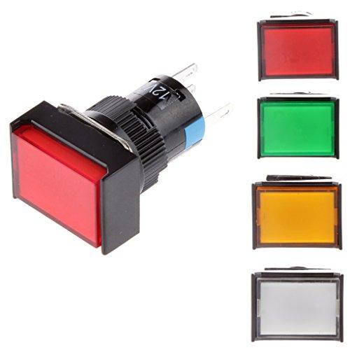 Red Taster (Sharplace DC 12V Taster Druckschalter Momentane Selbst Quadratischen Schalter LED Druckknopf - Transparent Red)