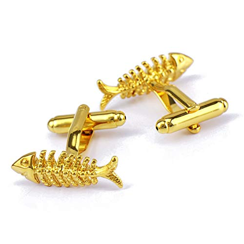 AmDxD Herren Manschettenknöpfe aus Edelstahl Fischgräte Form Hemd Manschetten Knöpfe für Bräutigam Männer - Gold -