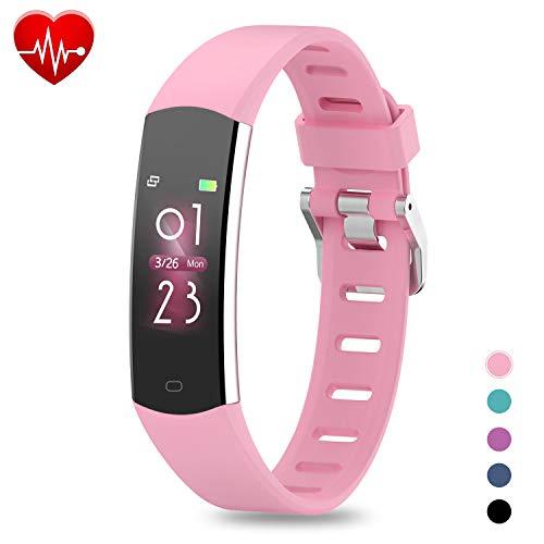 BingoFit Fitness Armband Kinder Uhr mit Pulsmesser, Wasserdicht GPS Fitness Tracker Farbbildschirm Aktivitätstracker Schrittzähler Uhr Stoppuhren für Damen Herren Kinder