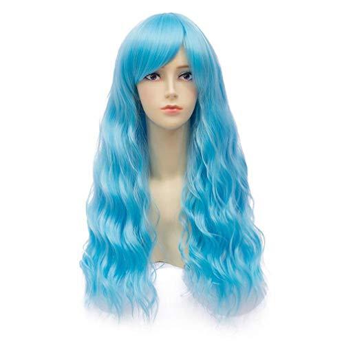 Baisheng Harajuku Fluffy Mais Hot Lange Lockige Wellenförmige Helle Blaue Cosplay Perücken Anime Charakter Kostüm Perücken Synthetische Faser Volles Haar Hitzebeständige Perücken Für Frauen (70 cm-hellblau)