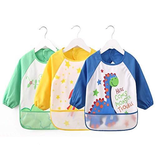 VLCOO wasserdichte Langarm Baby Lätzchen, Set von 3 Childs Kunst Handwerk Malerei Schürze Front Tasche für Kinder im Alter von 1-3 Jahre