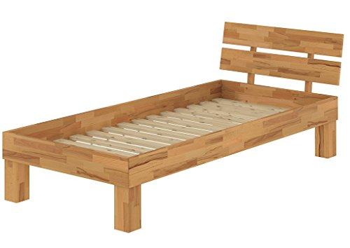 Erst-Holz® Buchebett massiv Einzelbett 100x200 Bettgestell Holzbett mit Rollrost 60.86-10