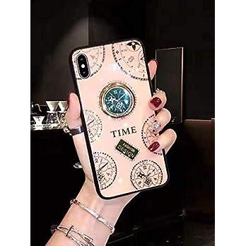 MUDIOU für Iphone Hülle,Uhr mit Diamanten PC + Gehärtetes Glas Hülle Mit Magnetischer Ring Stand Hülle für Xiaomi CC9/A3 Lite/CC9E/A3/Mi9/9SE/RedMi Note 8/Note 8 Pro/Redmi 8/Redmi 8A/Redmi note 8T