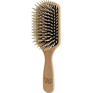 Tek große rechteckige Haarbürste mit langen Pins - Handgemacht in Italien