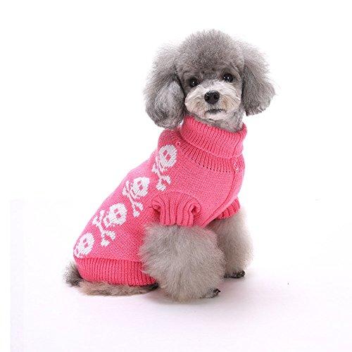 Moolecole Haustier-Feiertag Halloween-Schädel-Kopf Haustierbekleidung Hundestrickjacke Rosa
