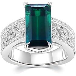 18quilates 750oro blanco corte Esmeralda Verde Turmalina Con Diamante Anillo de promesa, compromiso, boda (3.92+ 0,44quilates, G-H Color, VS2-SI1claridad) regalo mujeres joyas