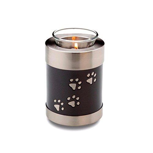Urna para cremación de mascotas con diseño de huellas de ornamento, color negro y plateado