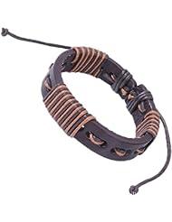 SUYA pulseras,3 PC, círculos Bicolor cables de cera del cuero, perforado, pulsera de cuero, joyas de cuero , coffee color