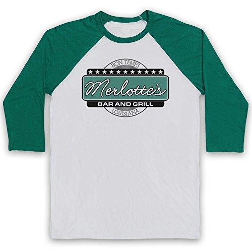 True Blood Merlottes Bar (Inspired Apparel Inspiriert durch True Blood Merlotte's Bar & Grill Inoffiziell 3/4 Hulse Retro Baseball T-Shirt, Weiß & Grün, XS)