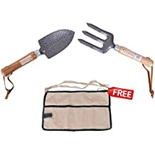 Kosma 2 Pc Garden Tool Set with Ash Wood Handle | Hand Trowel | Hand Fork | FREE 4 Pocket Garden Apron