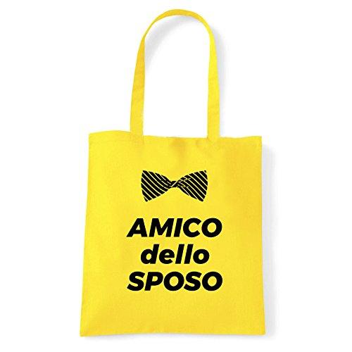 Art T-shirt, Borsa Shoulder Amico dello Sposo, Shopper, Mare Giallo