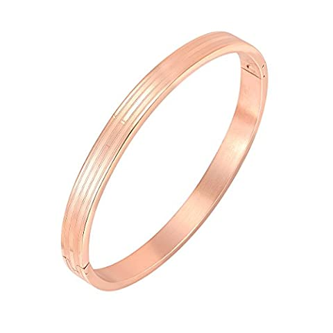 Oven Moda Gift Jewellery 18ct Real Rose Gold Plated Stainless Steel Cuff Bangle Bracelet for Women