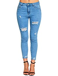 Simply Chic Outlet New Womens Stretch Extreme Ripped Skinny Jeans Denim