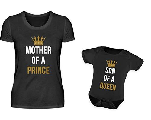 Mama Baby Partnerlook Tshirt Baby Body Strampler Set Mother of A Prince Son of A Queen Rundhals Mutter Sohn Partner Look Für Damen Und Jungs (L & 0-6 Monate)