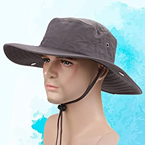 VORCOOL Waterproof Fishing Caps Safari Hat Outdoor UV Protection Fishing Hat for Men Women With Adjustable Chin Strap Breathable for Hiking Camping Boating Outdoor Activities(Dark Grey) from VORCOOL