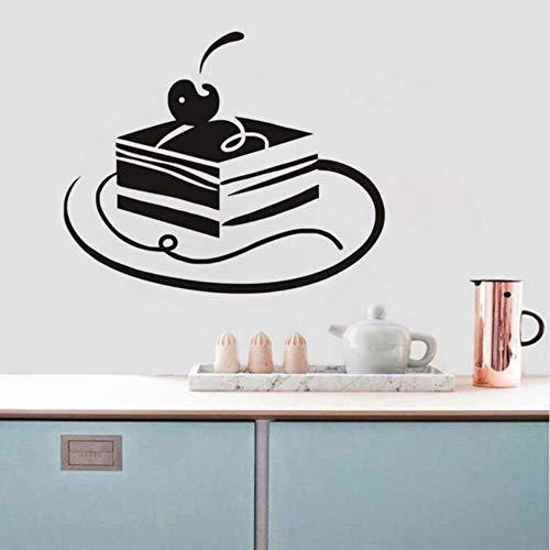 Dalxsh Dessert Haus Dekorative Platz Kirschkuchen Wandaufkleber Delicious Cake Decor Schwarz Gedruckt Essen Tapete Geburtstag Party Decor 44x36 cm (Einfache Halloween-desserts Party Für)