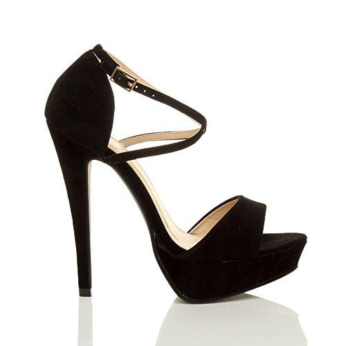 Ajvani Femmes talons hauts bout ouvert lanières croisées sandales plateforme pointure Noir daim