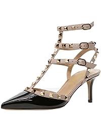 Lutalica Stivaletti da Donna con Cinturino alla Caviglia con Fibbia Scarpe  a Stiletto con Cinturino e Sandali con Tacco… 5854d3b5362