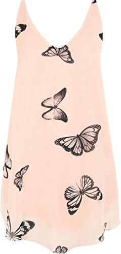 PLUS Damen Chiffon-Schmetterling Print gefüttert ärmellos Dip Saum Damen Weste Top Nude