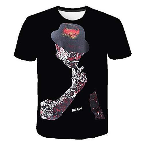Männer Frühling Sommer Männer T-Shirts 3D Gedruckt Tier t-Shirt Kurzarm Lustige Design Casual Tops Tees Männlich,Persönlichkeit Kreative 3D-A Schwarz 5XL - Star David Punch