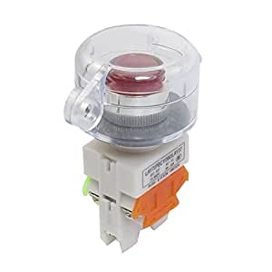 660V 10A 1NO 1NF 24V momentanée Rouge Transparent Lampe Commutateur Couverture à bouton-poussoir