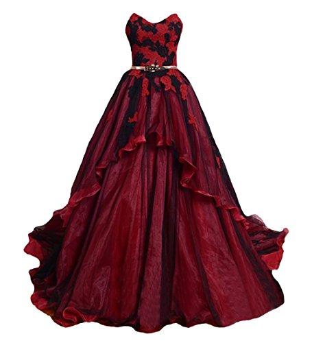 O.D.W Gotisch Lange Frauen Formales Brautkleider Vintage Hochzeitskleider(Schwarz+Rot 2, 42)