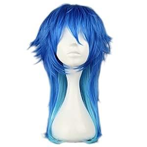 Dramatical Murder Mixed Dark Blue Anime Long Layered Style Men Cosplay Hair Wig+ Wig Cap
