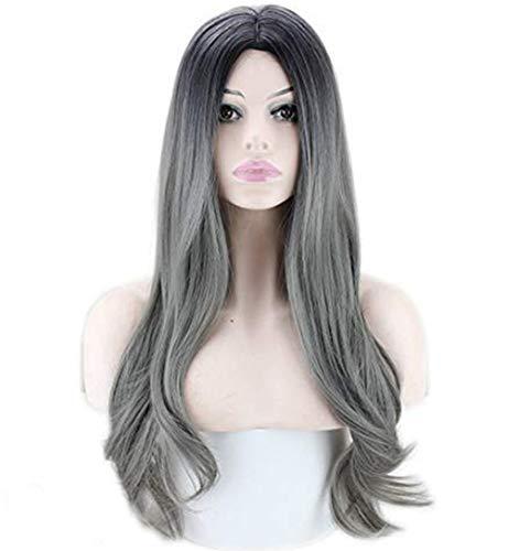 Perruque Synthétique Perruques Grises Sexy dégradé Gris Longs Cheveux Bouclés Couleurs Mélangées Naturelle Grand Mere Vieille Dame