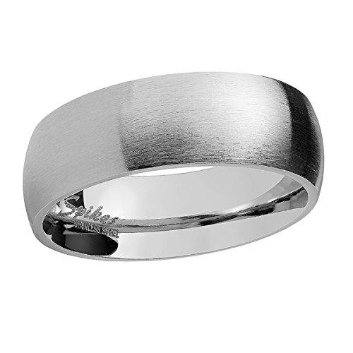 Piersando Band Ring Edelstahl Matt Gebürstet Bandring Ehering Partnerring Trauring Verlobungsring Damen Herren Silber Größe 59 (18.8) Breit 6mm