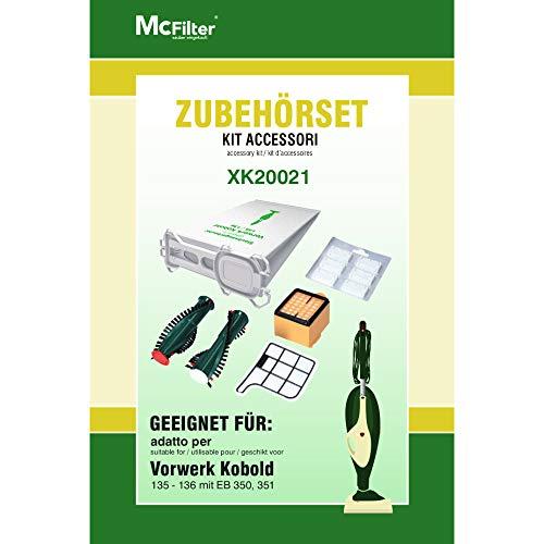 Zubehör-Set 17-teilig geeignet für Vorwerk Kobold 135, 136, 135SC, 12 Staubsaugerbeutel, 2 Bürsten für EB 350, 1 HEPA-Filter, 1 Motorfilter