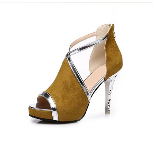 W&LM Signorina Tacchi alti sandali scamosciato Ok Tacchi alti Piattaforma impermeabile Chiusura lampo dopo Scarpe di bocca di pesce Yellow