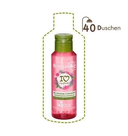 Yves Rocher LES PLAISIRS NATURE Duschgel-Konzentrat Lotusblüte-Salbei, ultra ergiebige Pflegedusche, 1 x Flacon 100 ml -