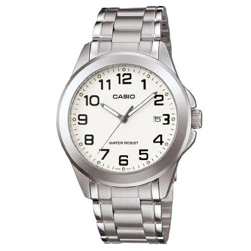CASIO MTP-1215A-7B2 - Reloj con Movimiento Cuarzo, para Hombre, Color Blanco y Plateado