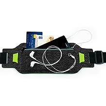 MyGadget Riñonera Belt Deportivo para Télefono Móvil - Cinturón Running Impermeable para Apple iPhone X 8 7 6 Plus, Samsung Galaxy S8 S7 etc. Gris oscuro