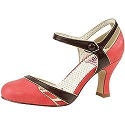 Knöchelriemchen Pumps Pin Up Couture Lachsfarben/braun aus Kunstleder FLAPPER-27 Rot, EU 38