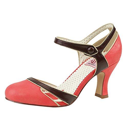 Knöchelriemchen Pumps Pin Up Couture Lachsfarben/braun aus Kunstleder FLAPPER-27 Rot, EU 37