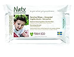 (Pack of 8) : Naty by Nature Babycare Wipes - Unscented Sensitive 390g (Pack of 8)