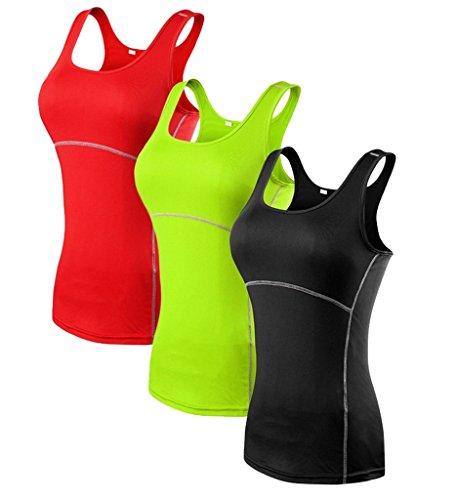 YR.Lover Damen 3er Pack Dry Fit Kompression Running Yoga Tank Top T-Shirt (Fit Shirt Tight L/s)