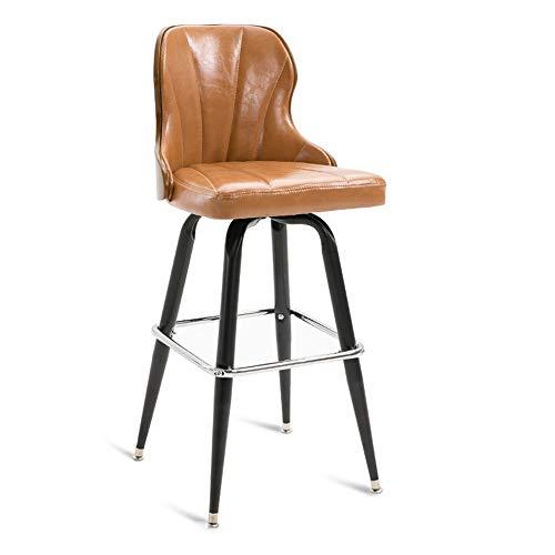 Barhocker Moderne einfache Barhocker, Öl Wachs Leder Schmiedeeisen High Density Schwamm gefüllt Kissen Swivel Bar hoher Hocker Cafe Bar Stuhl (Farbe : Messing, größe : H 73cm) -