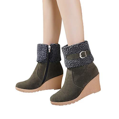 TianWlio Stiefel Frauen Herbst Winter Schuhe Stiefeletten Boots Stiefel Mode Kurze Schnalle Schlüpfen Keile Wedges Lange Hochhackige Schneestiefel Armeegrün 42