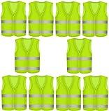 10 Gilet de Securite Infroissable jaune fluo | Lot de Gilets de Sécurité réfléchissants à 360 degrés KFZ EN471 | Lavable en Machine